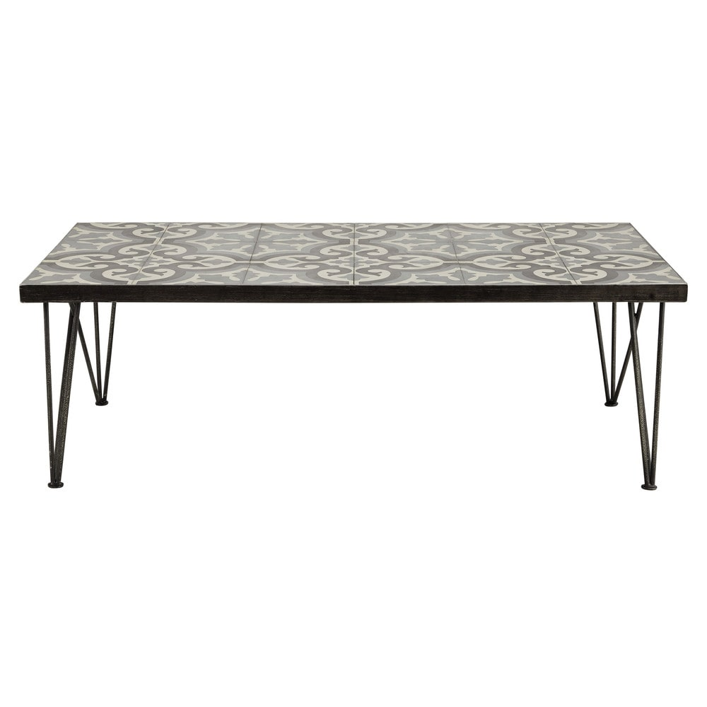 Tile Coffee Table Set: Metal And Cement Tile Coffee Table W 120cm Mosaic