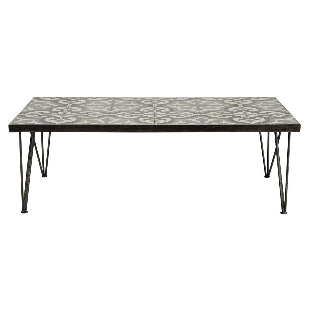 metal and cement tile coffee table w 120cm mosaic | maisons du monde
