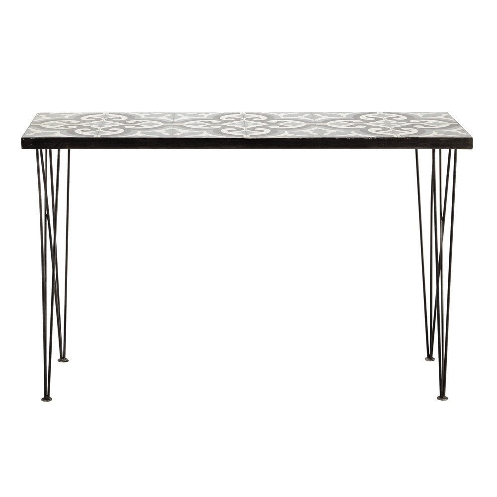 Metal and cement tile console table w 120cm mosaic - Table maison du monde ...