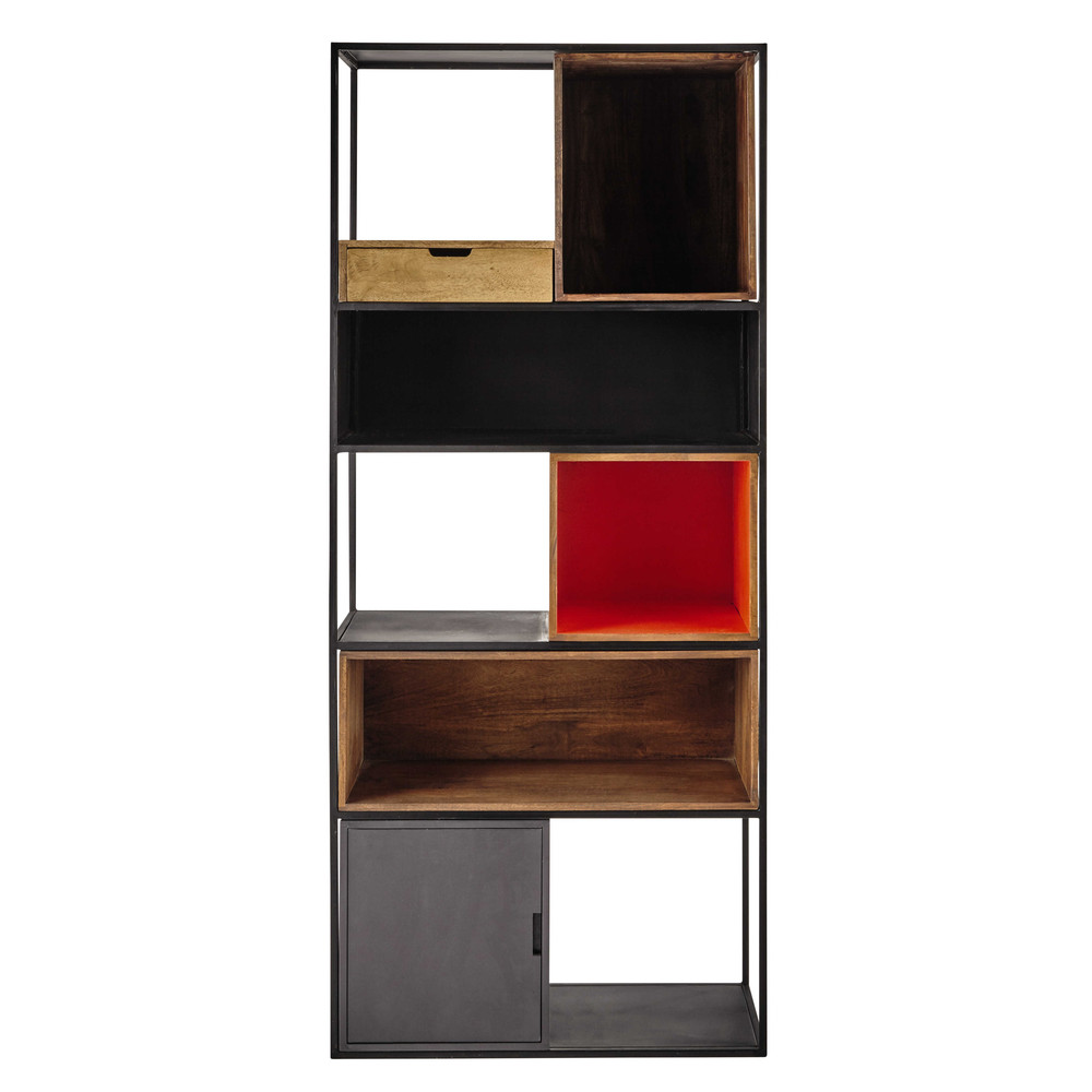 metal and mango wood shelf unit in grey orange w 80cm. Black Bedroom Furniture Sets. Home Design Ideas