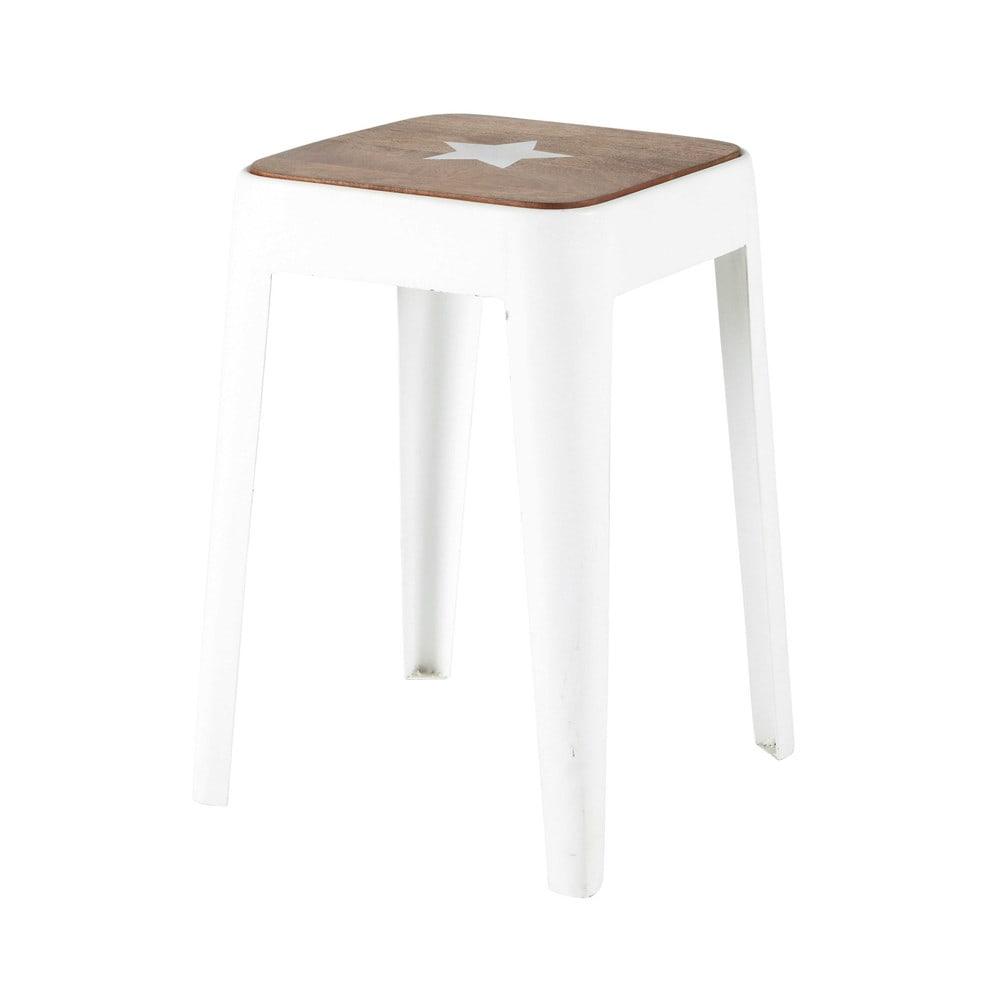 Metal and mango wood stool in white  sc 1 st  Maisons du Monde & Metal and mango wood stool in white Bloom | Maisons du Monde islam-shia.org