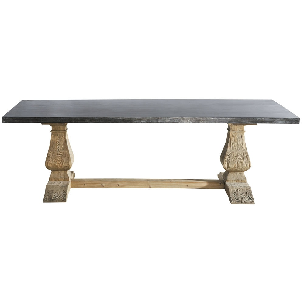 metal and recycled wood dining table w 240cm lourmarin
