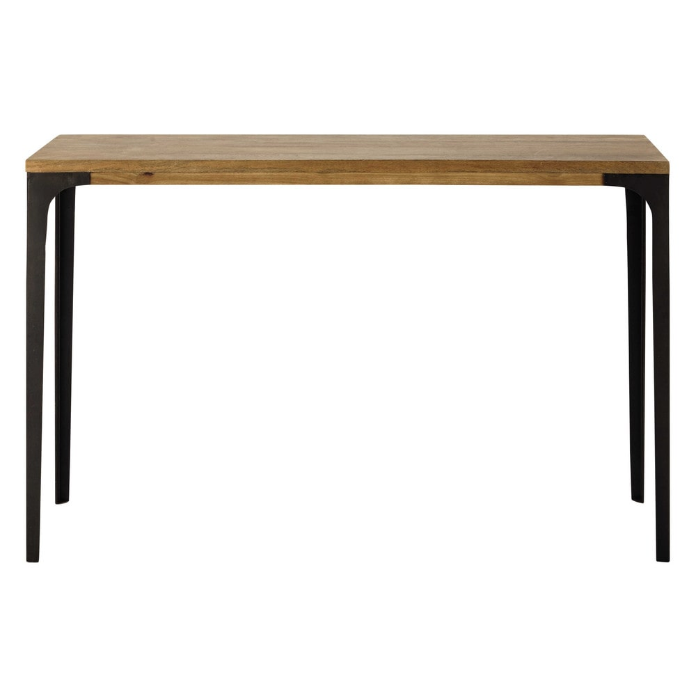 metal and solid mango wood console table w 120cm metropolis maisons du monde. Black Bedroom Furniture Sets. Home Design Ideas