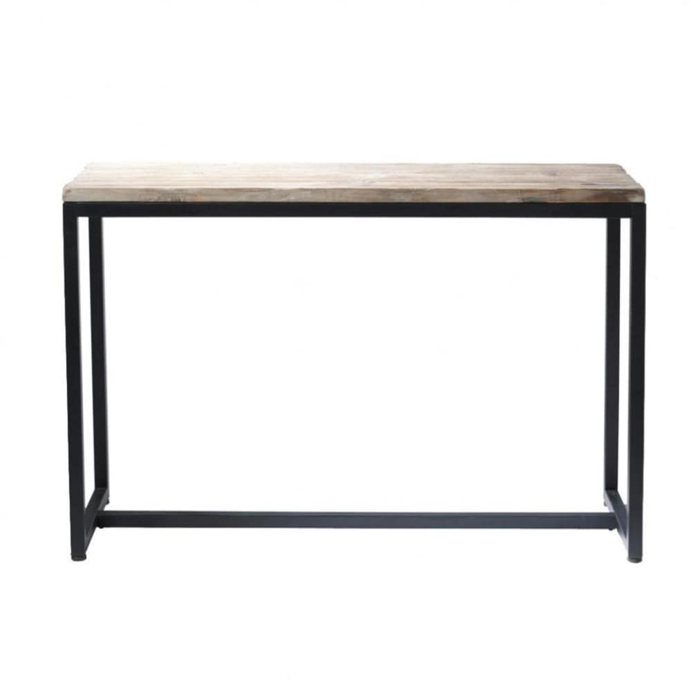 Metal and solid wood console table in black w 119cm long Metal console table