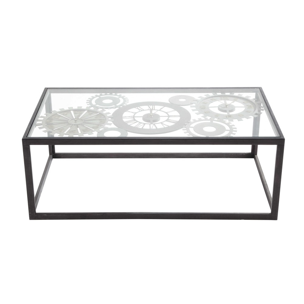 Metal And Tempered Glass Coffee Table With 3 Clocks W 110cm Clocks Maisons Du Monde