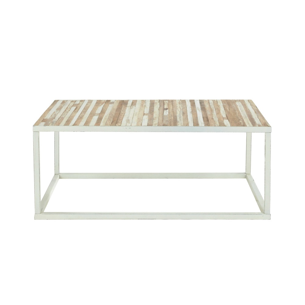 Metal and wood coffee table in white w 100cm mistral maisons du monde White wood coffee table