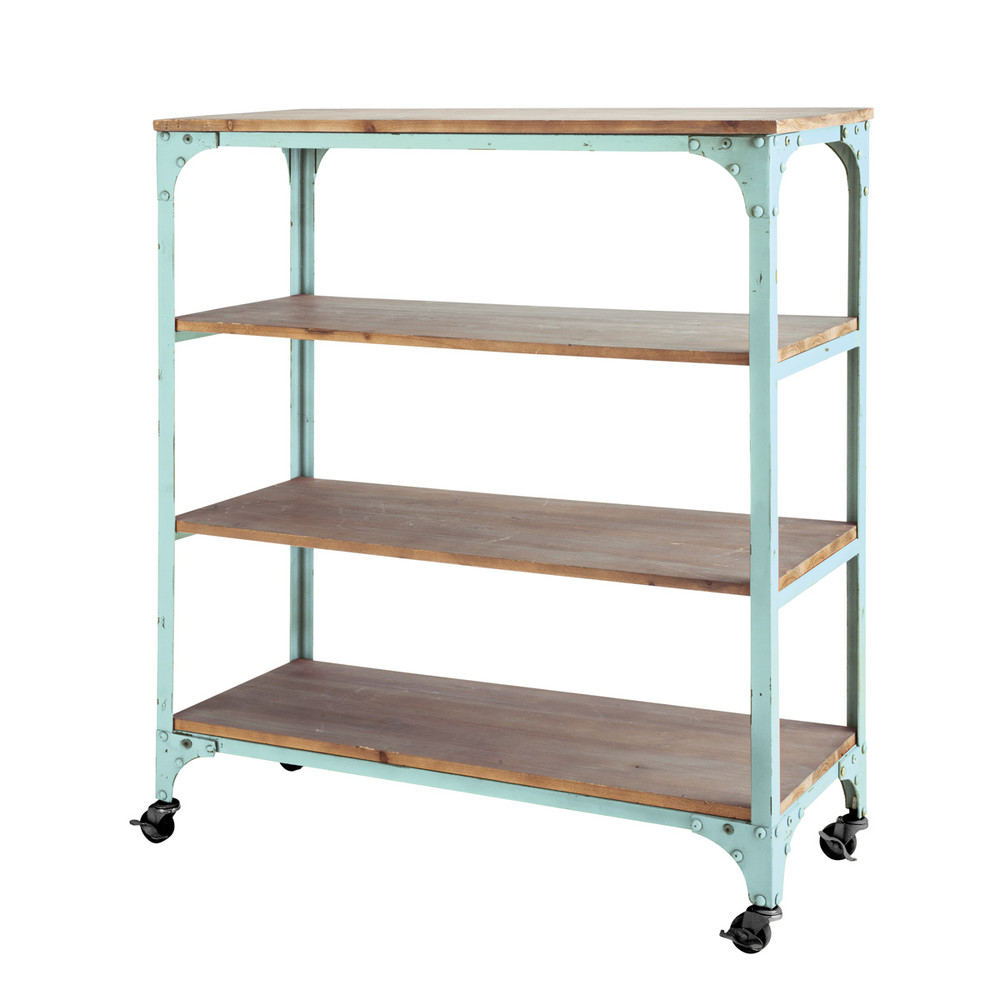 Metal and wood industrial console table on castors in sea green w metal and wood industrial console table on castors in sea green w 88cm geotapseo Choice Image