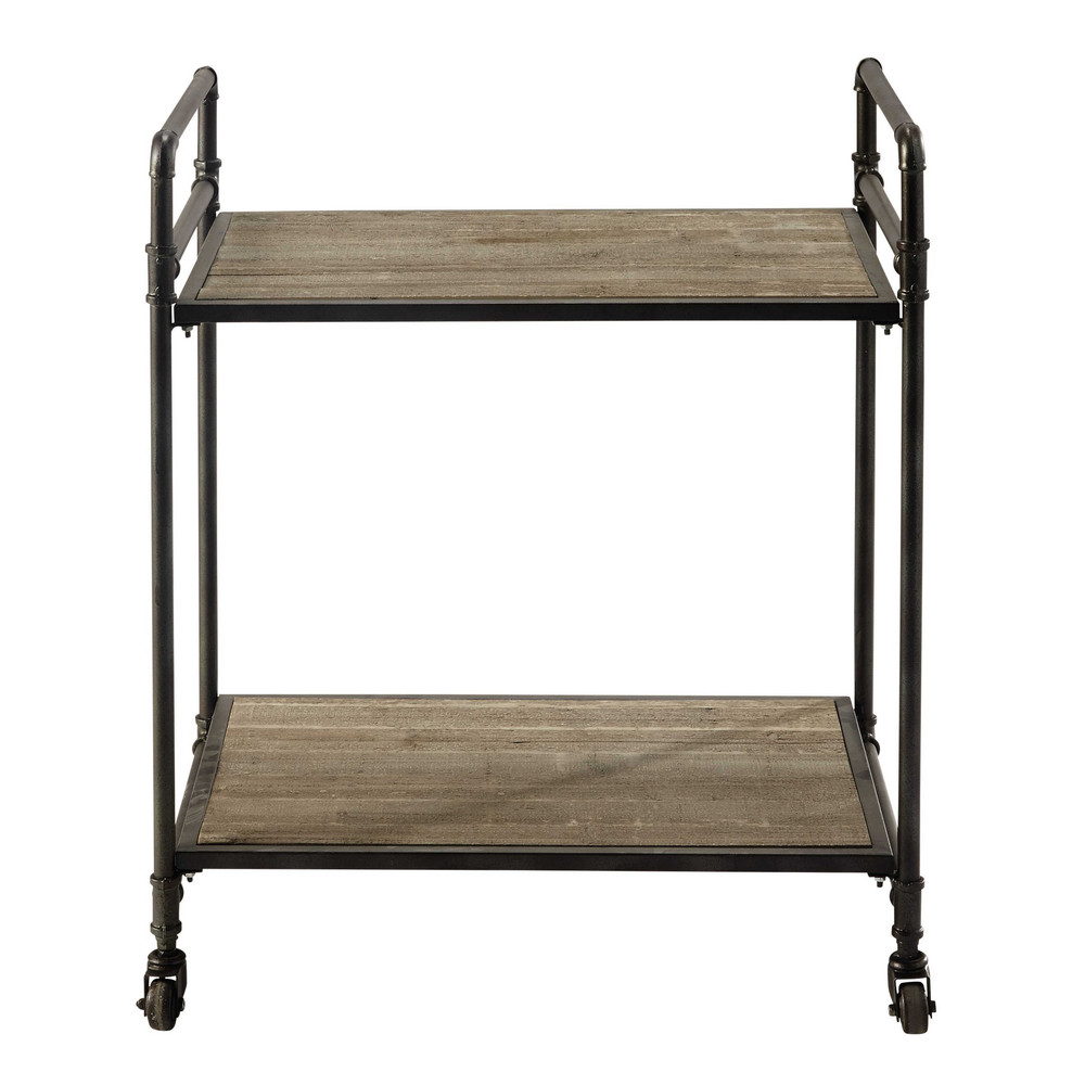 Metal And Wood Trolley On Castors W 64cm Maisons Du Monde
