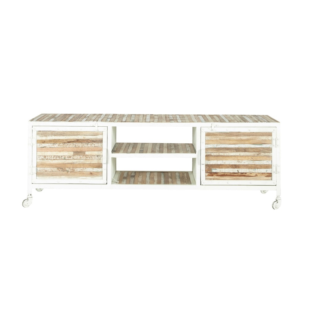 metal and wood tv unit in white w 140cm mistral maisons
