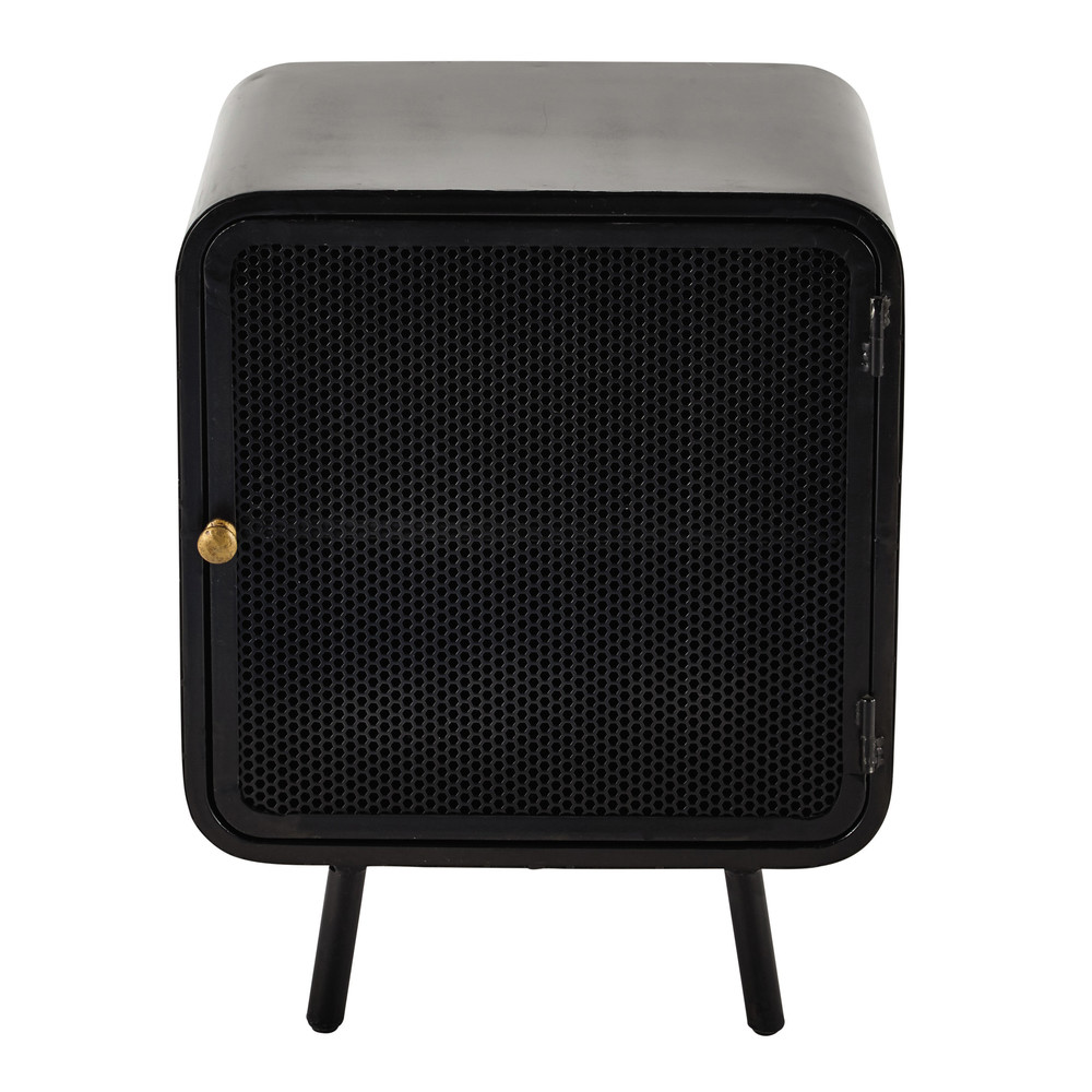Metal bedside table in black w 44cm knokke maisons du monde - Table de chevet cuir noir ...