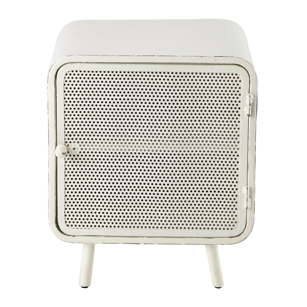 Metal bedside table in white w 44cm knokke maisons du monde - Table maison du monde ...