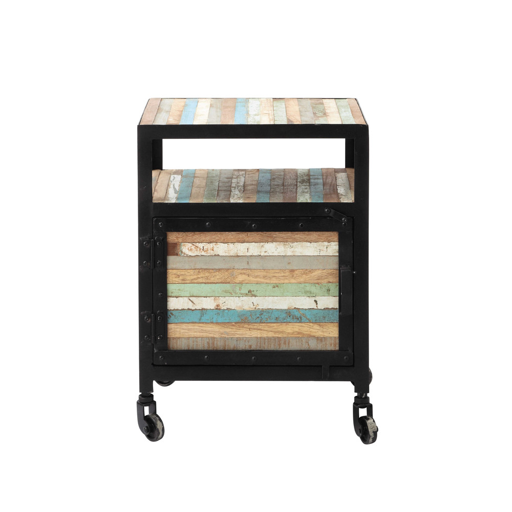 Metal Bedside Table On Castors In Black W 40cm Bahia