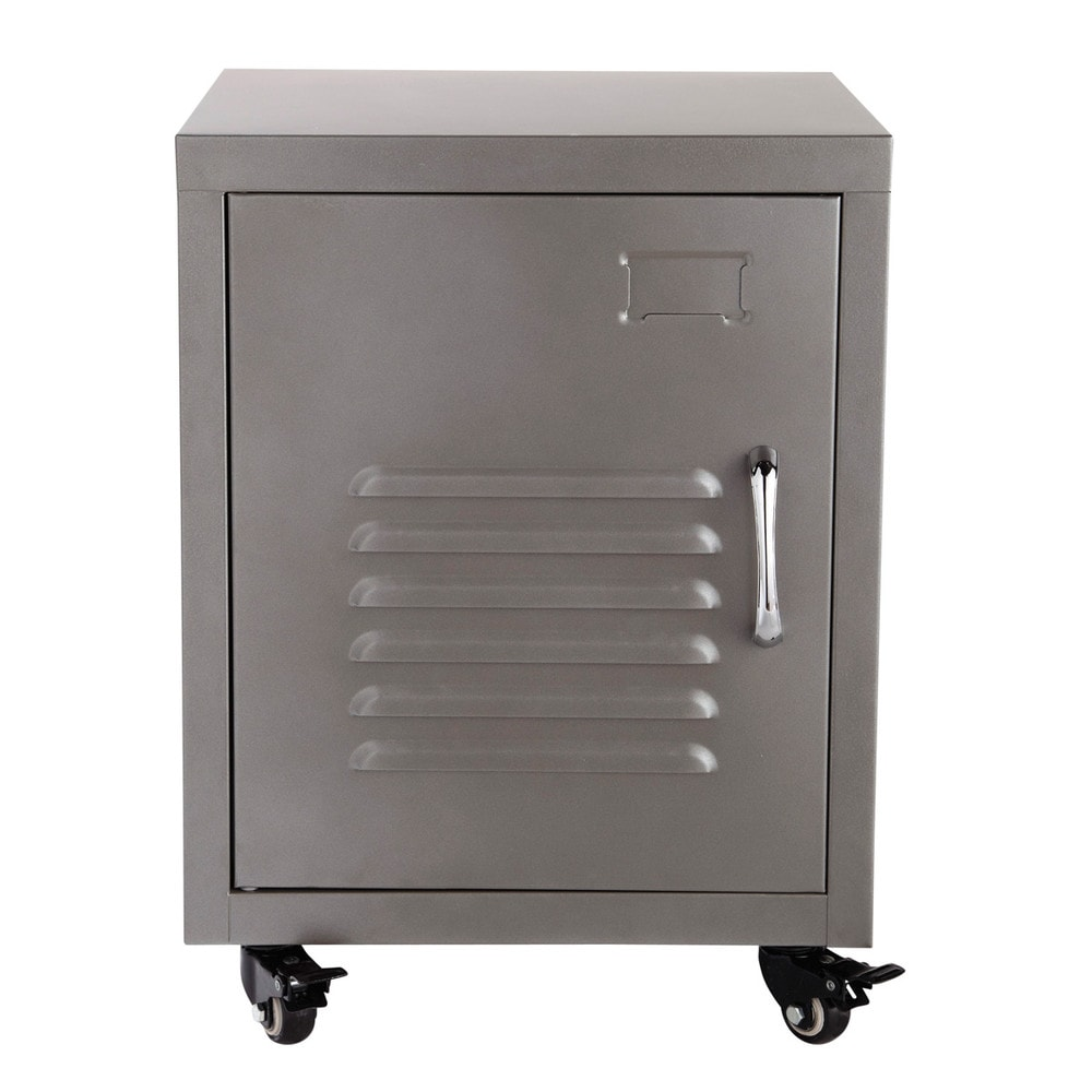 Metal bedside table on castors in grey w 37cm loft - Table de chevet rouge ...