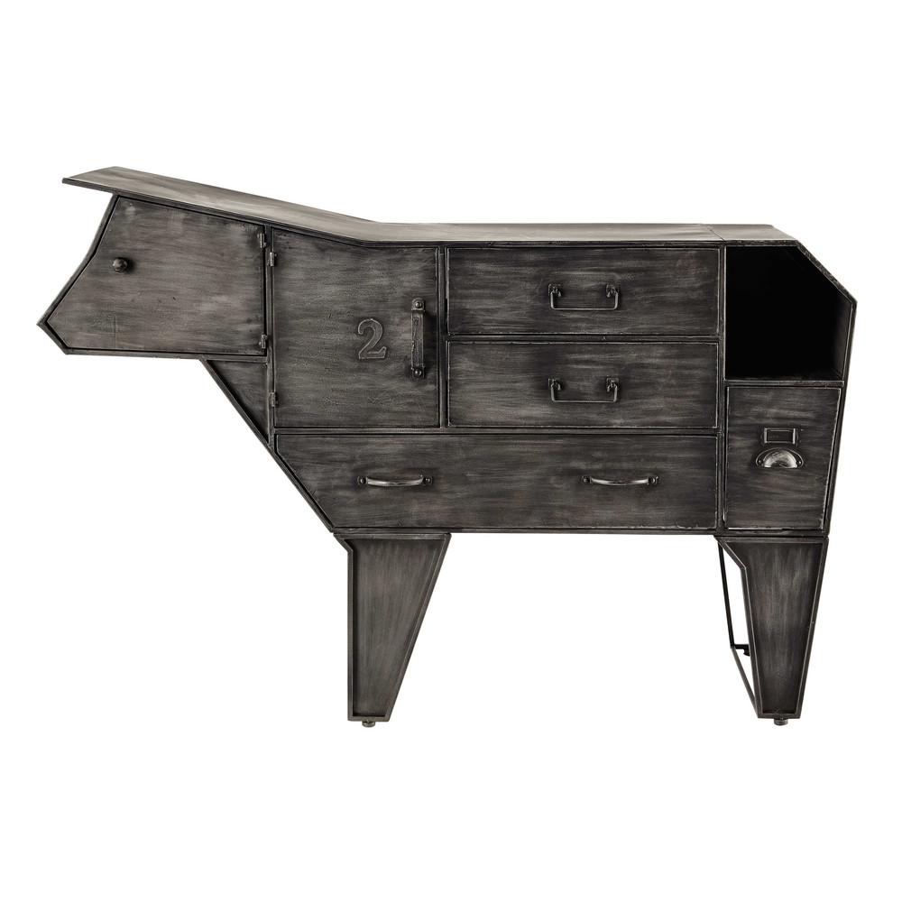 metal cow storage cabinet w 144cm marguerite maisons du monde. Black Bedroom Furniture Sets. Home Design Ideas