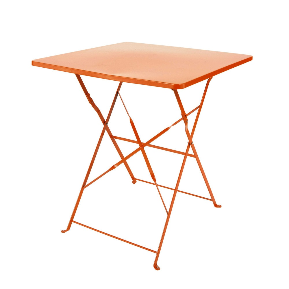 Metal folding garden table in orange w 70cm guinguette maisons du monde - Table jardin pliante bois marseille ...