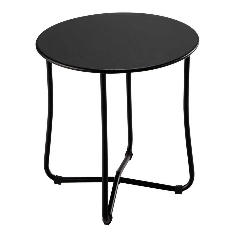 Metal garden side table in black d 45cm capsule maisons for Table exterieur plastique noir