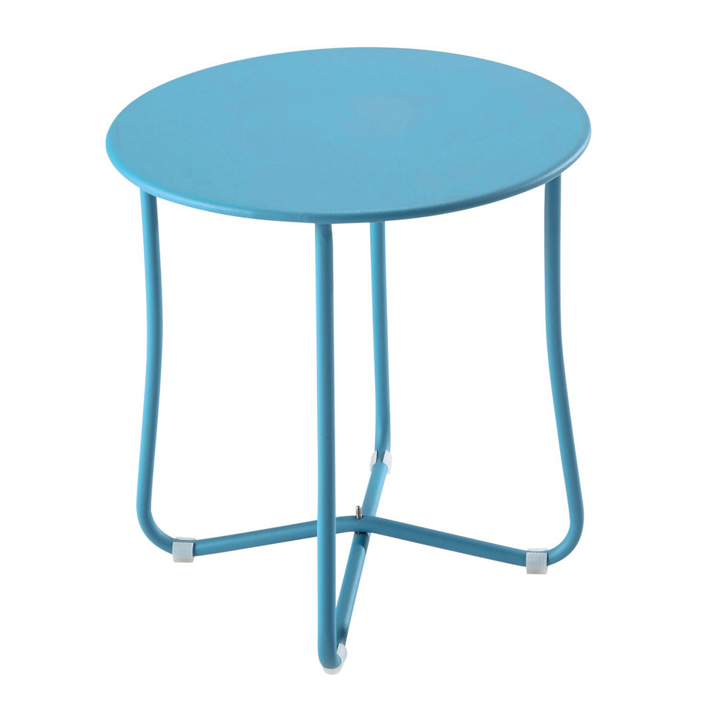 Metal garden side table in turquoise blue d 45cm capsule for Table exterieur rallonge aluminium