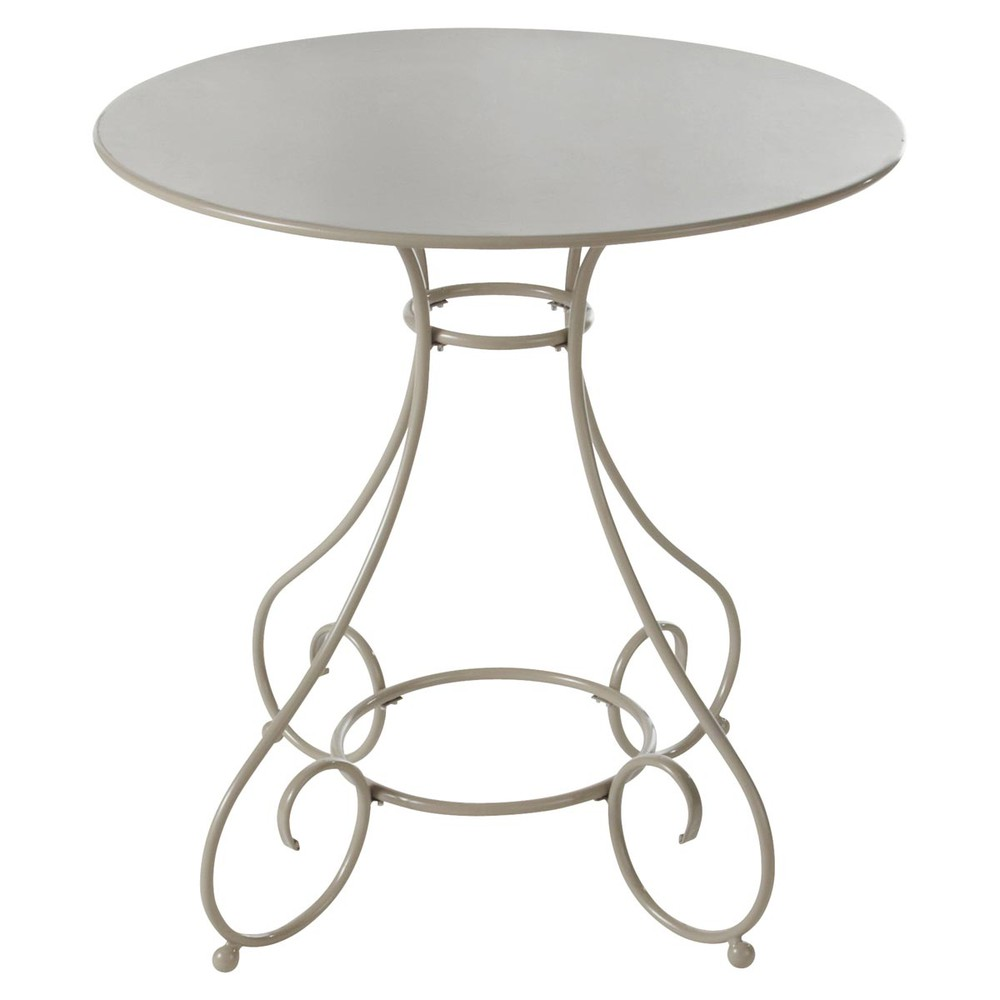 Metal garden table in taupe d 70cm mary maisons du monde for Mobilier jardin metal