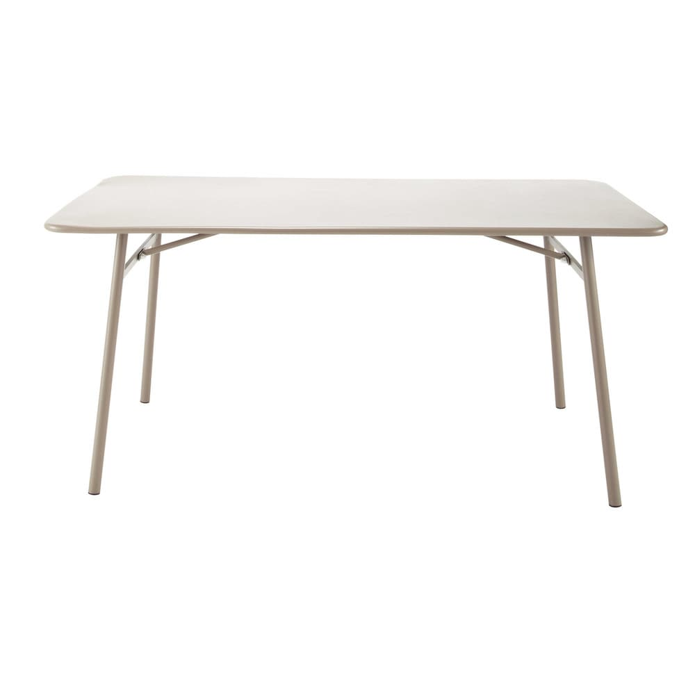 Metal Garden Table In Taupe W 160cm Harry 39 S Maisons Du Monde