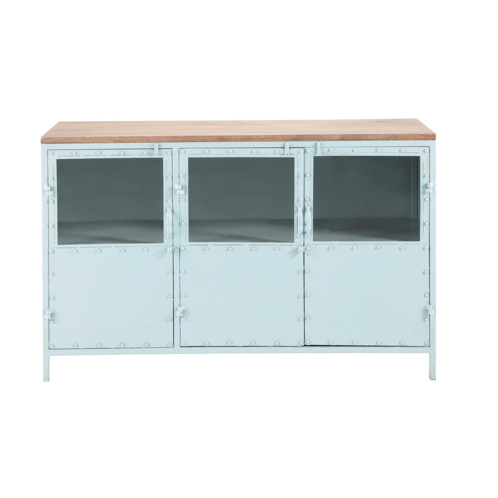 Metal glazed sideboard in blue w 130cm bloom maisons du for Maison de monde uk