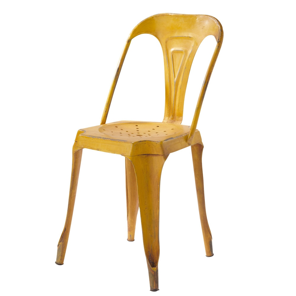 Metal industrial chair in yellow multipl 39 s maisons du monde for Chaises maisons du monde