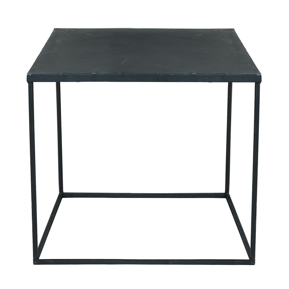 Metal industrial coffee table in black edison maisons du - Table carree exterieur aluminium ...