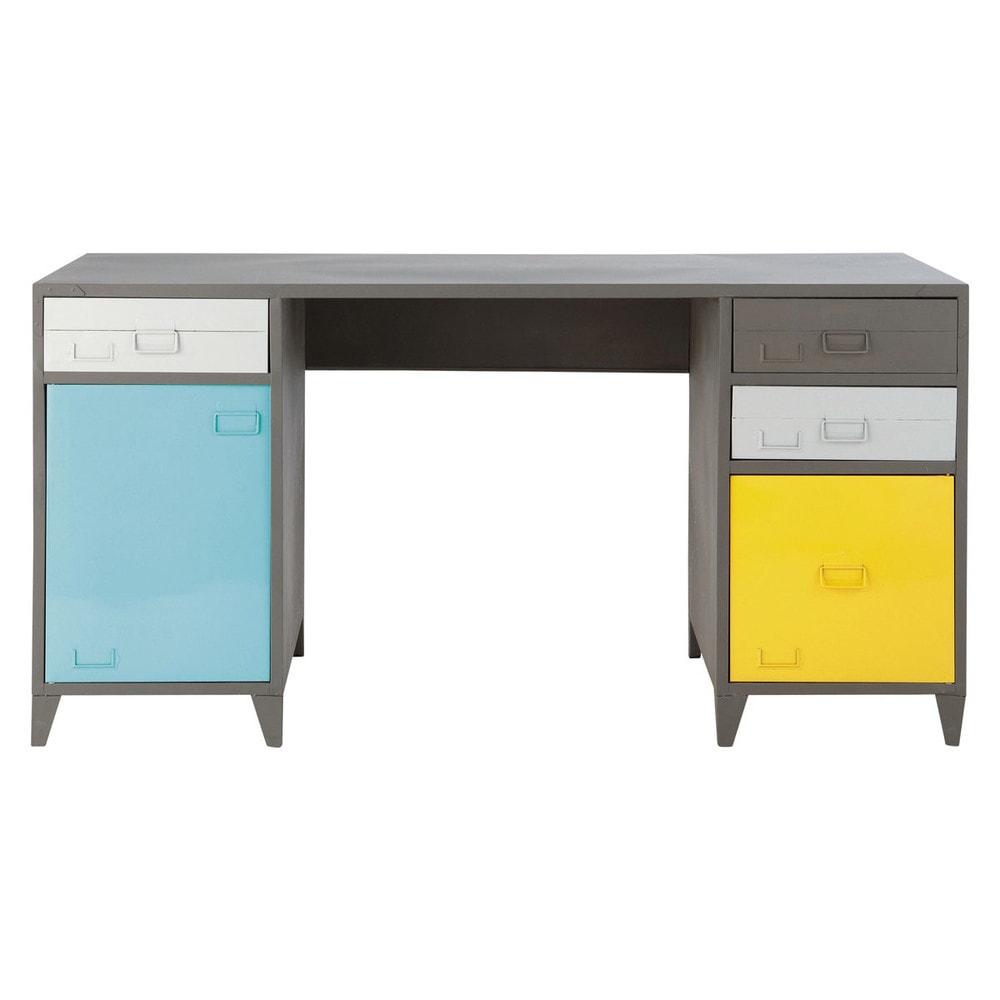 Metal industrial desk in grey w 150cm espace maisons du - Chaise bureau maison du monde ...