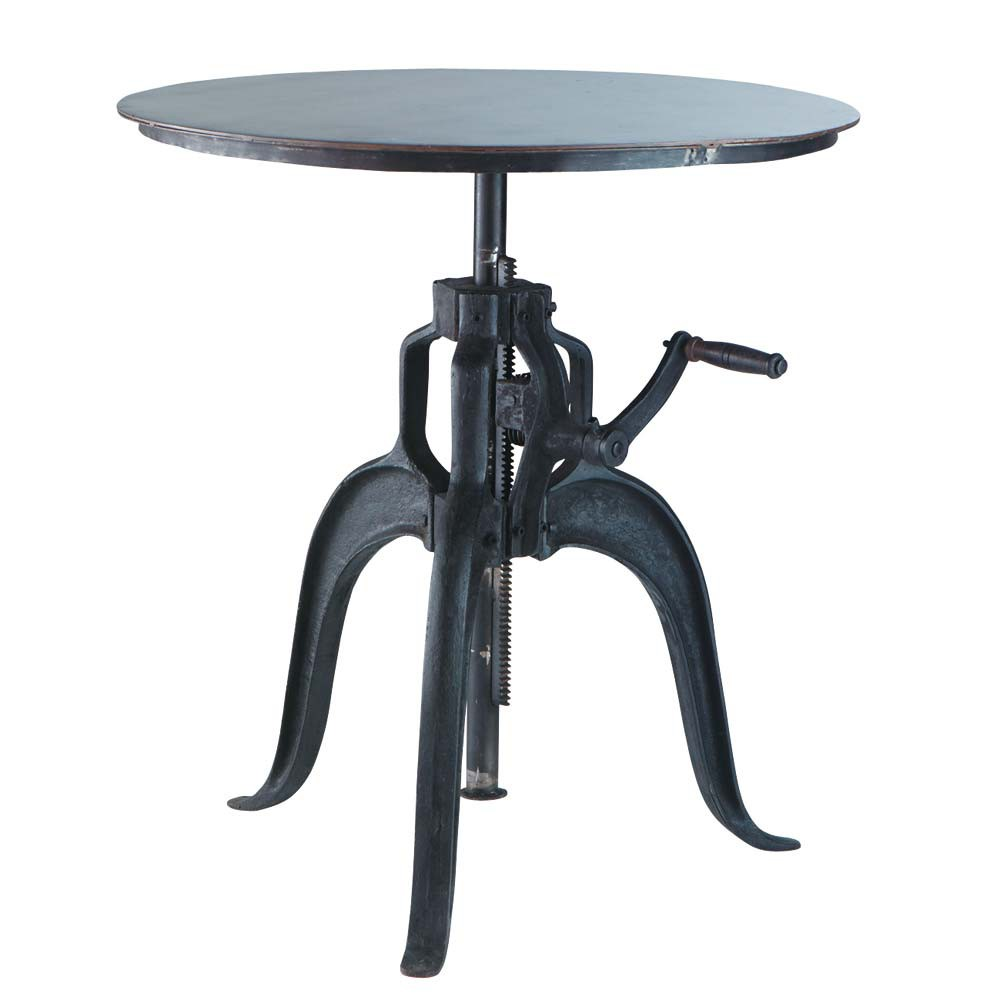 Industrial Metal Dining Table: Metal Industrial Round Dining Table In Black D 75cm Edison