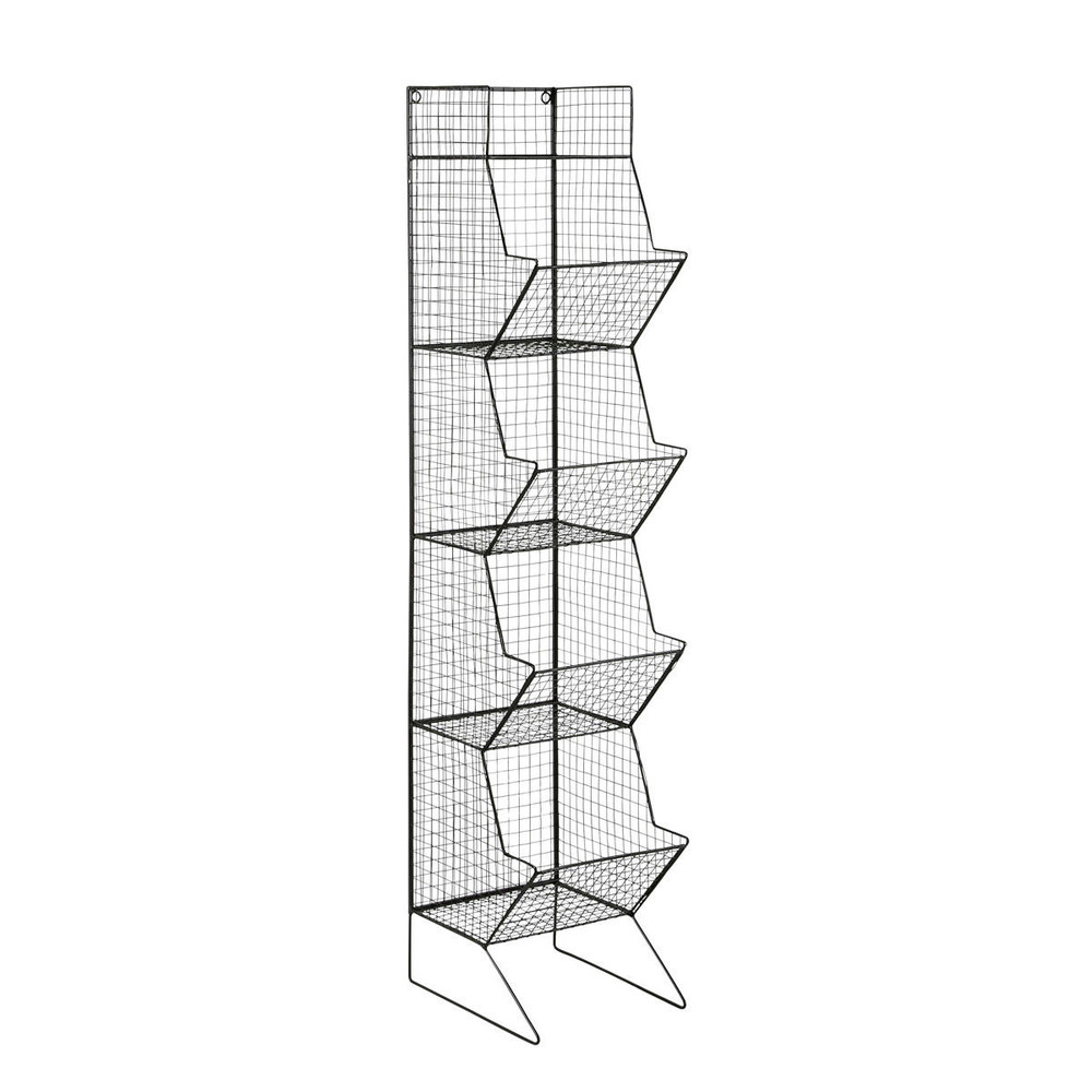 Rangement Fruits Et Légumes: Metal Industrial Shelf Tower Unit In Black H 130cm Basket