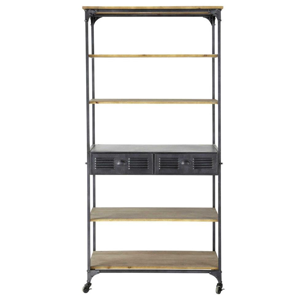 Metal industrial shelf unit on castors in charcoal grey w for Estanterias maison du monde