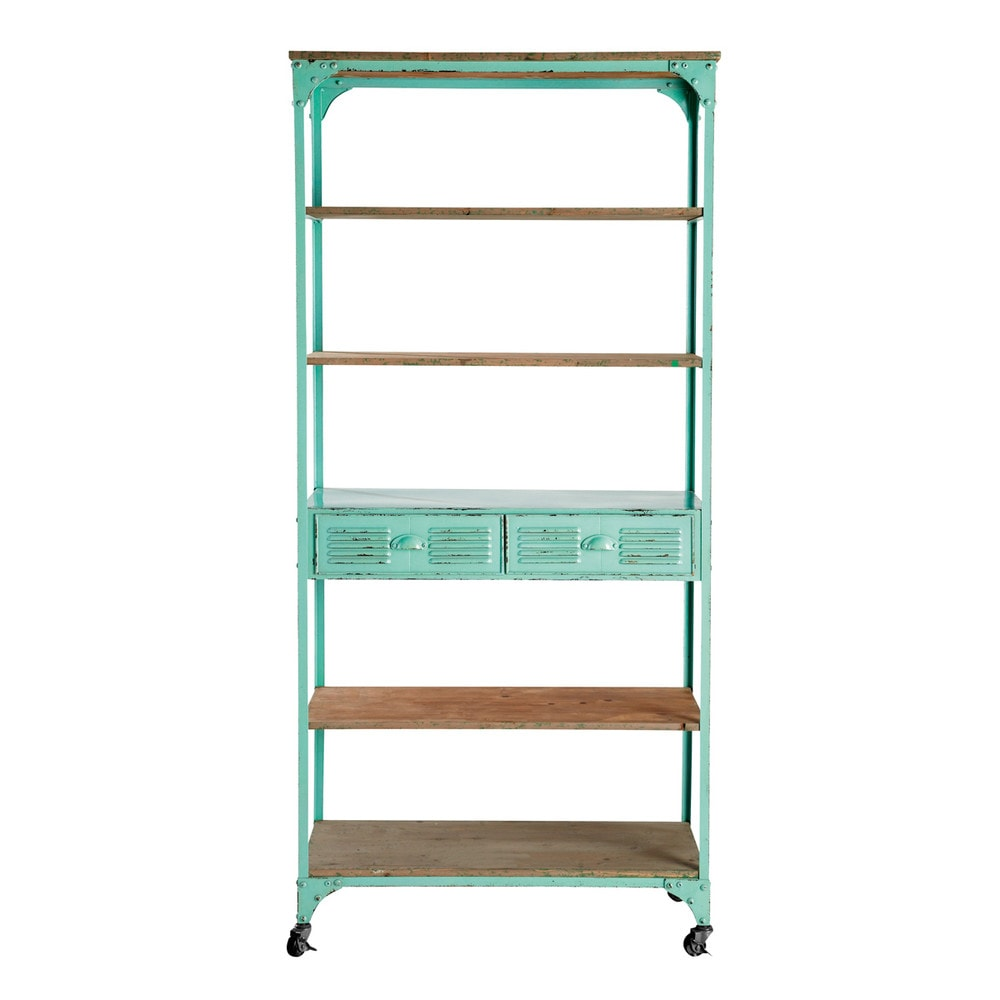 Metal industrial shelf unit on castors in green w 92cm for Maison de monde uk