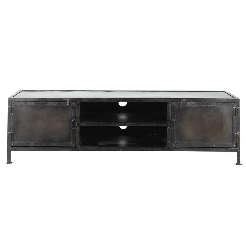 metal industrial tv unit black w 150cm edison maisons. Black Bedroom Furniture Sets. Home Design Ideas