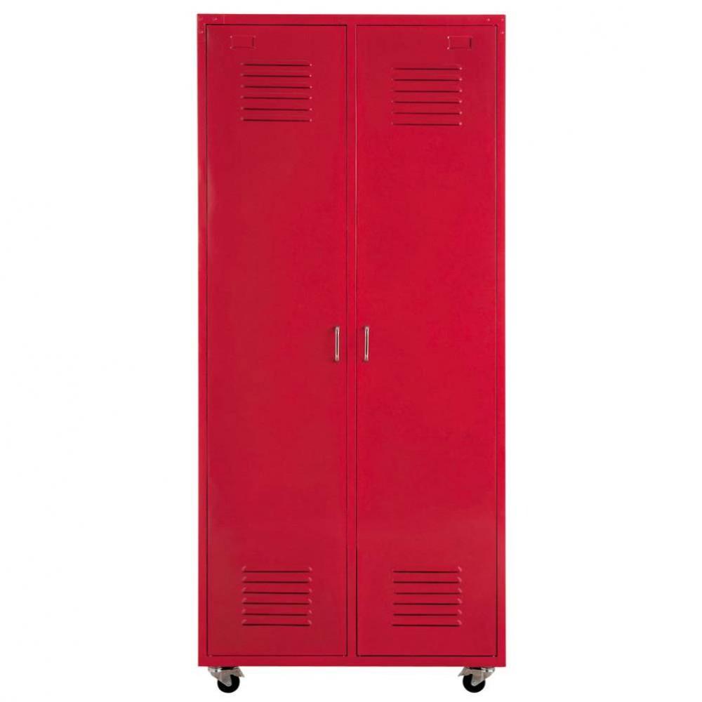 metal locker closet on castors in red w 85cm loft maisons du monde. Black Bedroom Furniture Sets. Home Design Ideas