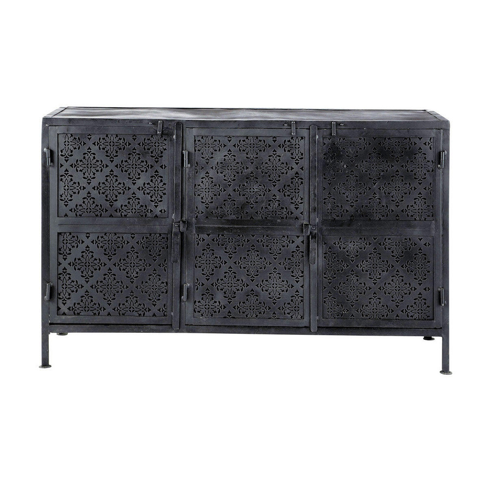 metal sideboard in black w 130cm menara maisons du monde. Black Bedroom Furniture Sets. Home Design Ideas