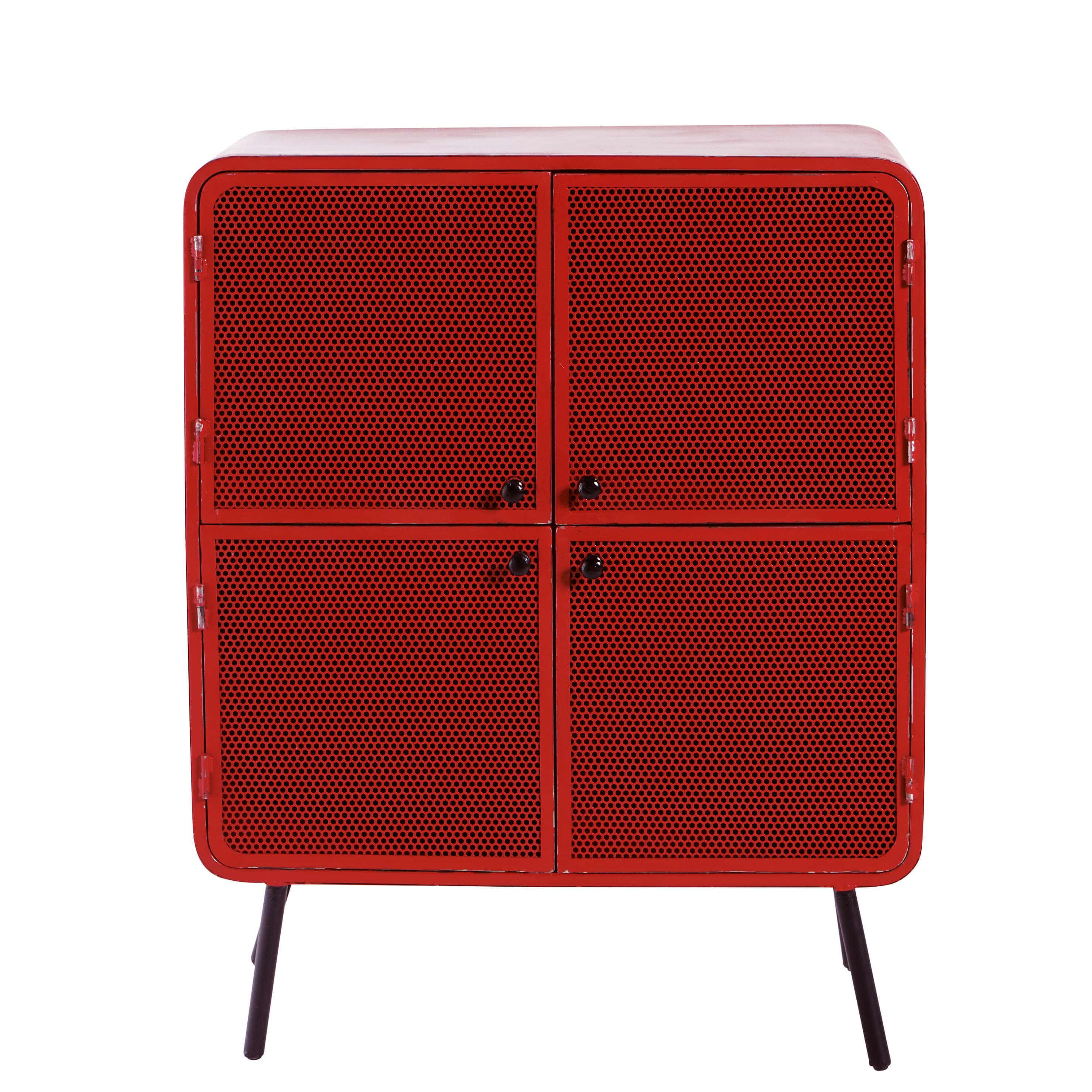 metal storage cabinet in red w 80cm knokke maisons du monde. Black Bedroom Furniture Sets. Home Design Ideas