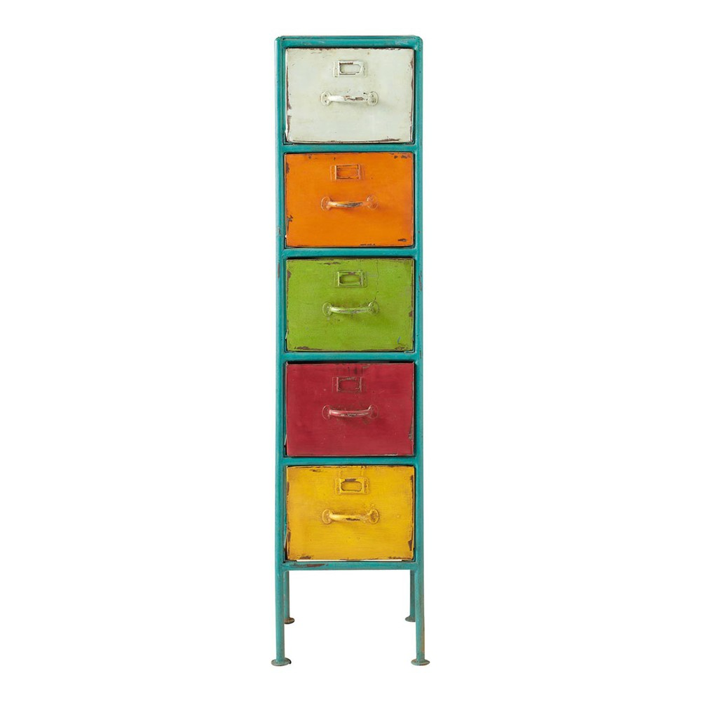 Metal storage tower unit multicoloured h 128cm mojito for Armoire de rangement a tiroir