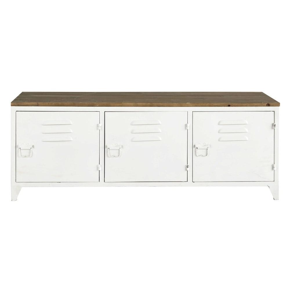 metal tv unit in white w 118cm bruce maisons du monde. Black Bedroom Furniture Sets. Home Design Ideas