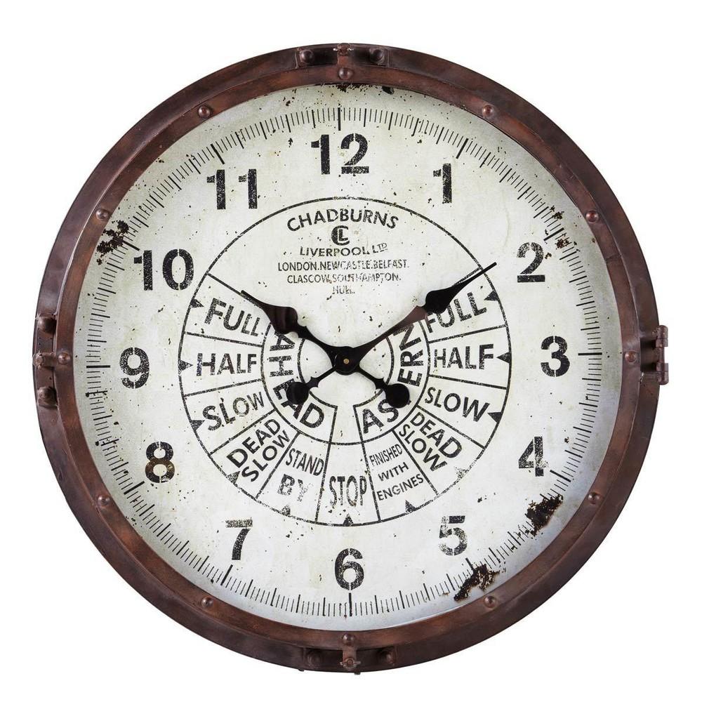 Metalen compas klok met roesteffect d 72 cm maisons du monde for Orologi maison du monde
