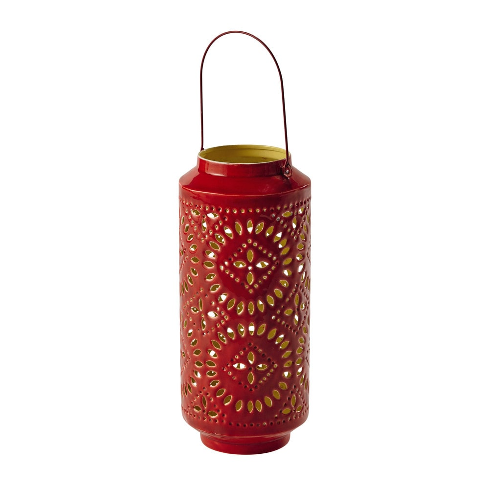 Metalen lantaarn rood hoogte 41 cm samara maisons du monde for Deco buitenkant terras