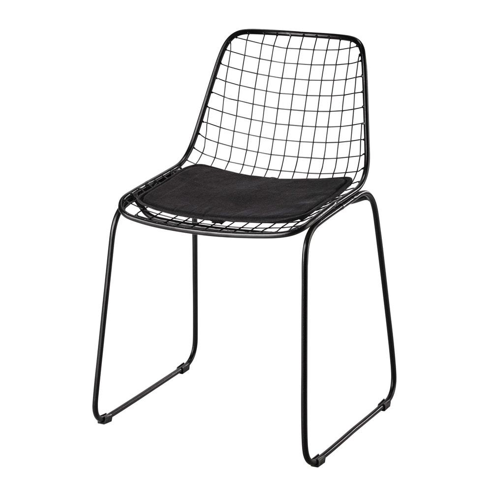 metalen stoel zwart picpus maisons du monde. Black Bedroom Furniture Sets. Home Design Ideas