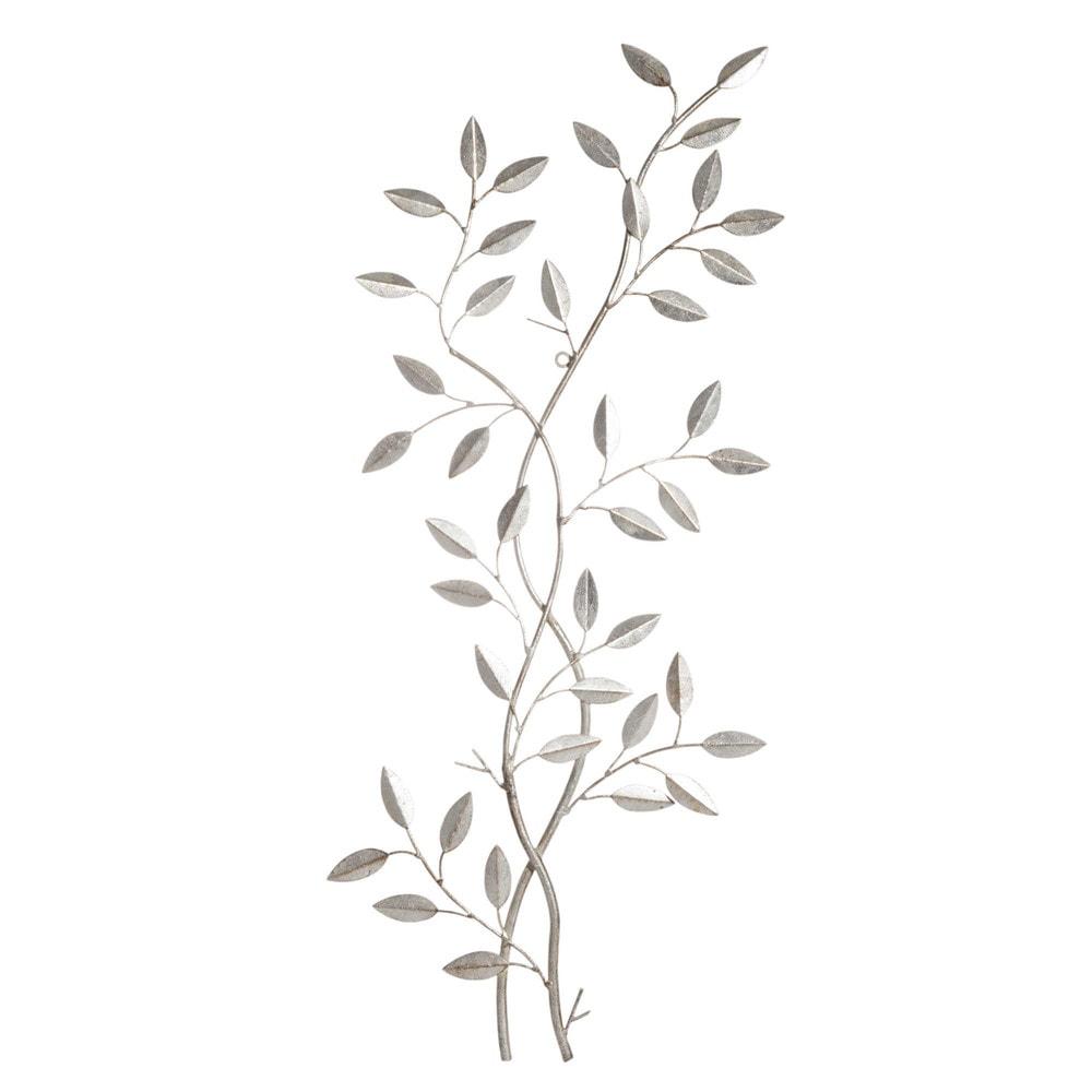 metalen wanddecoratie met planten 33 x 76 cm laurier