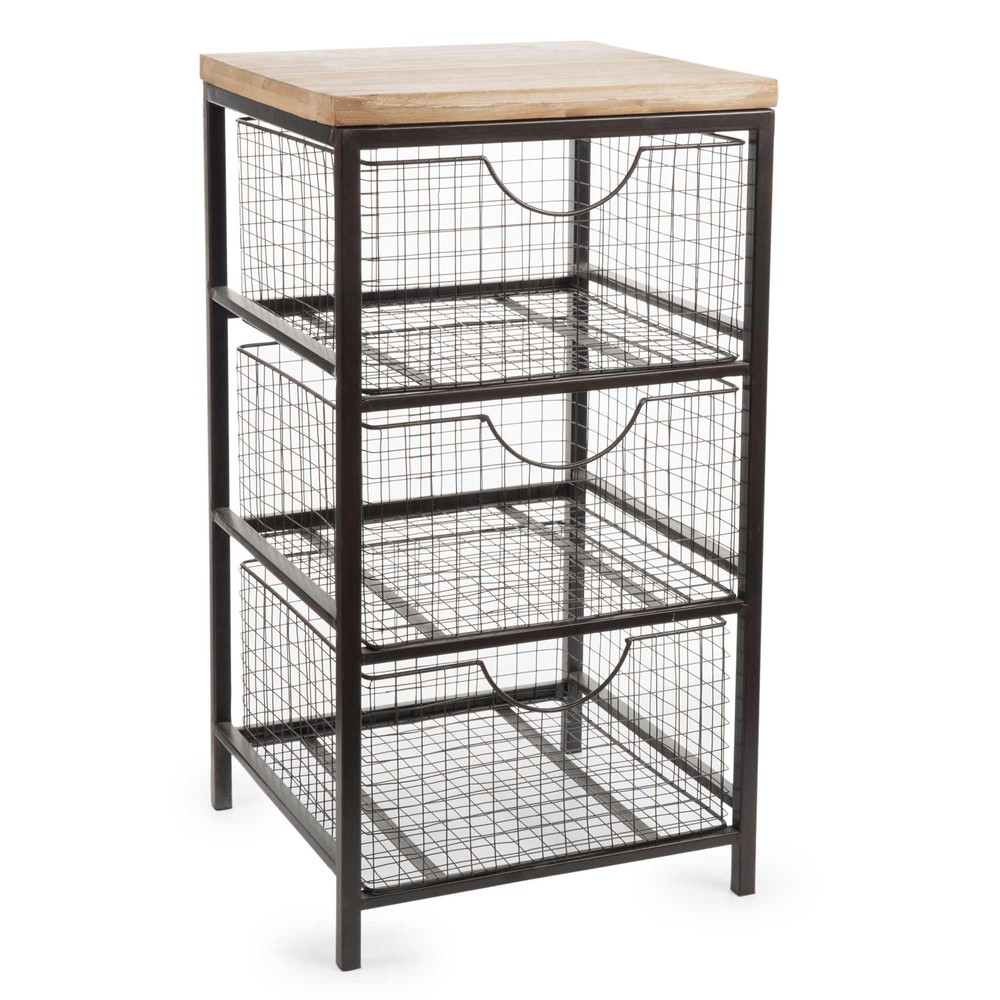 metalen woody meubel met 3 laden h 65 cm maisons du monde. Black Bedroom Furniture Sets. Home Design Ideas