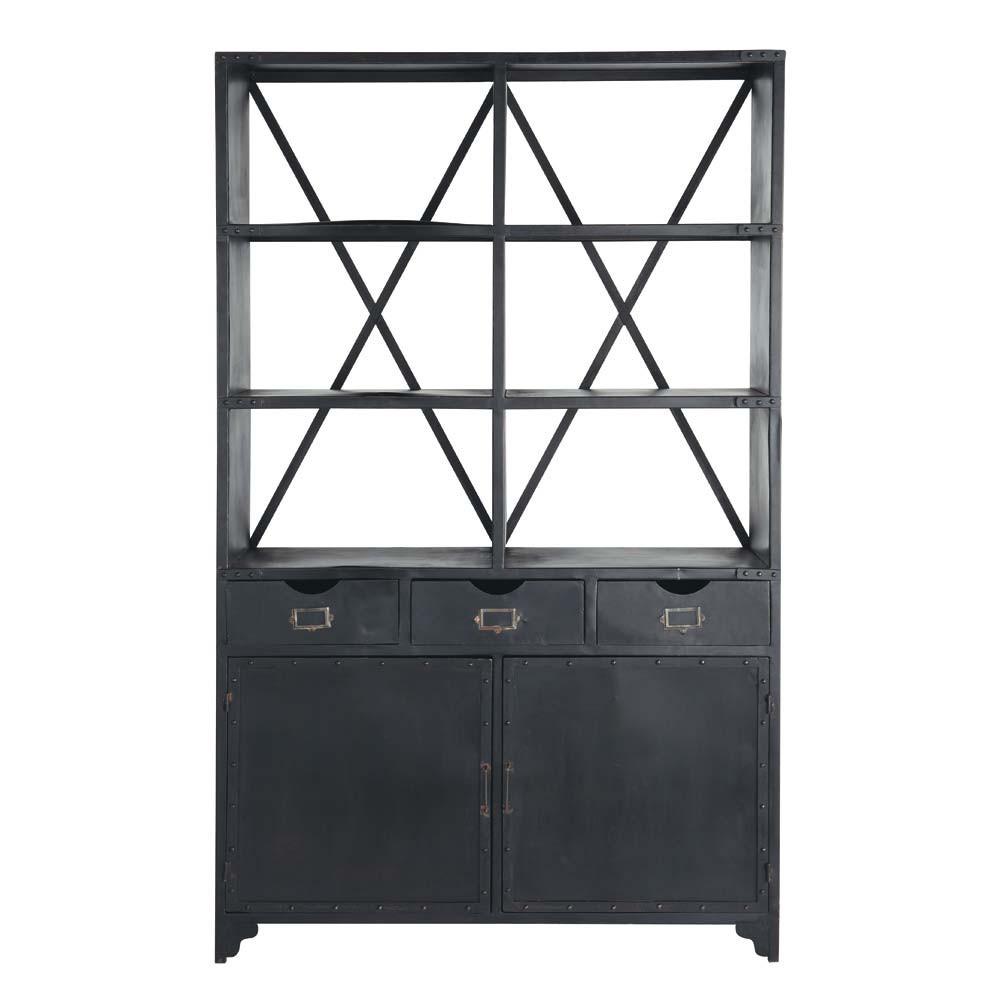 metallregal im industrial stil b 130 cm schwarz edison maisons du monde. Black Bedroom Furniture Sets. Home Design Ideas