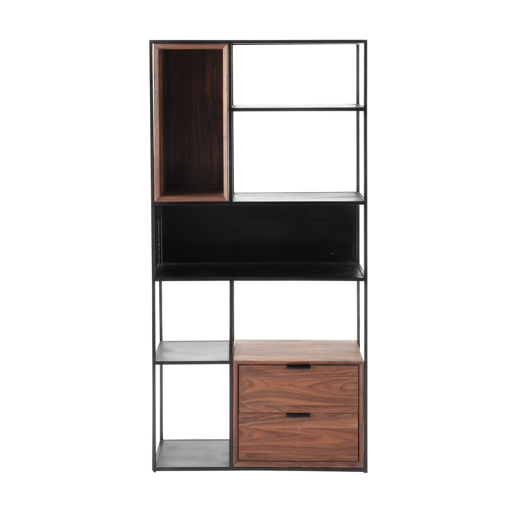 metallregal im industrial stil schwarz b 90 cm berkley maisons du monde. Black Bedroom Furniture Sets. Home Design Ideas