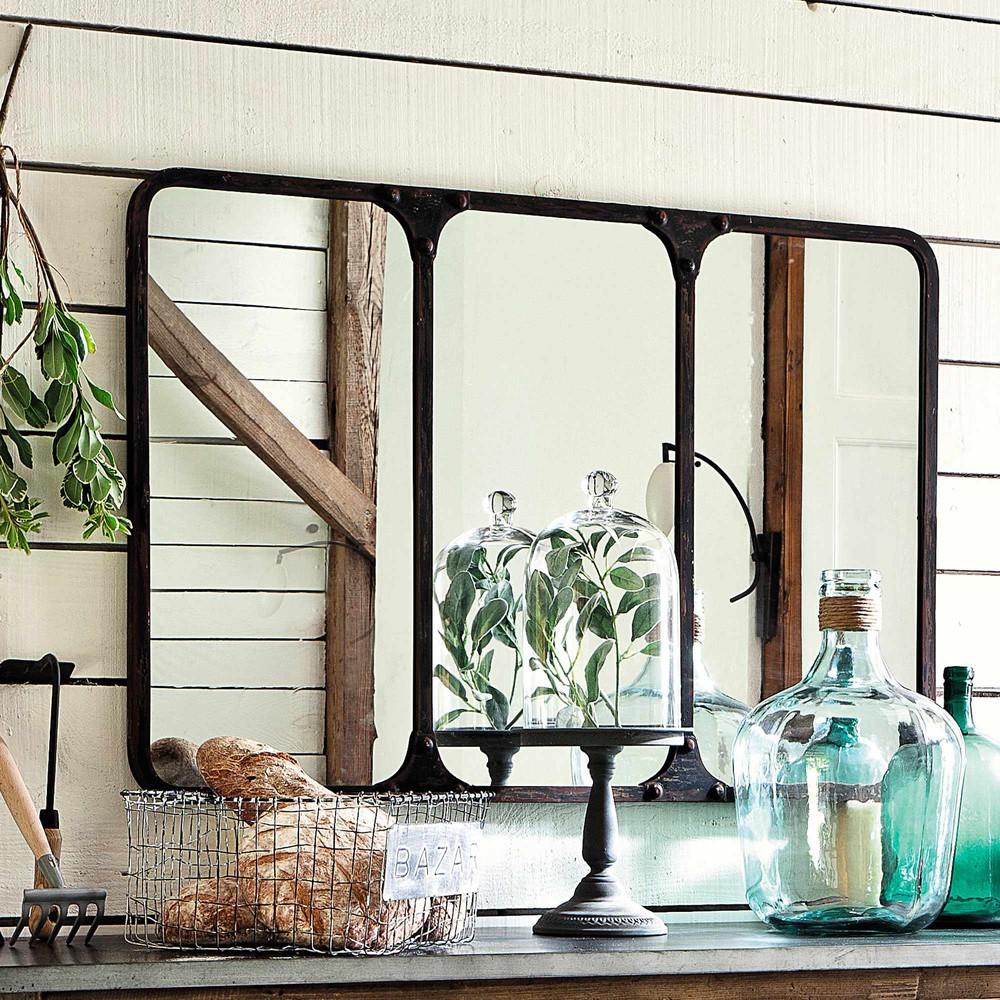 metallspiegel titouan im industrial stil schwarz antik h72 maisons du monde. Black Bedroom Furniture Sets. Home Design Ideas