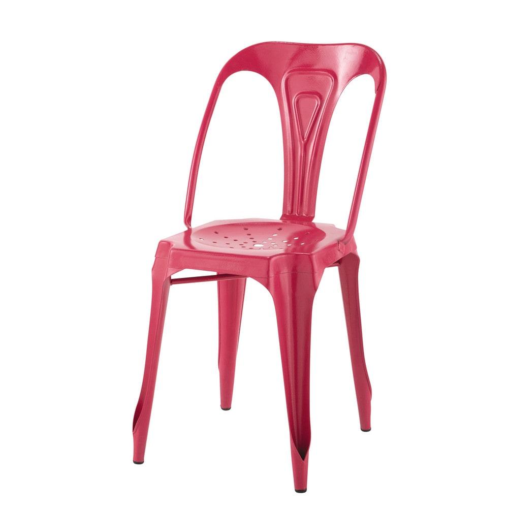 metallstuhl im industrial stil rosa multipl 39 s maisons. Black Bedroom Furniture Sets. Home Design Ideas