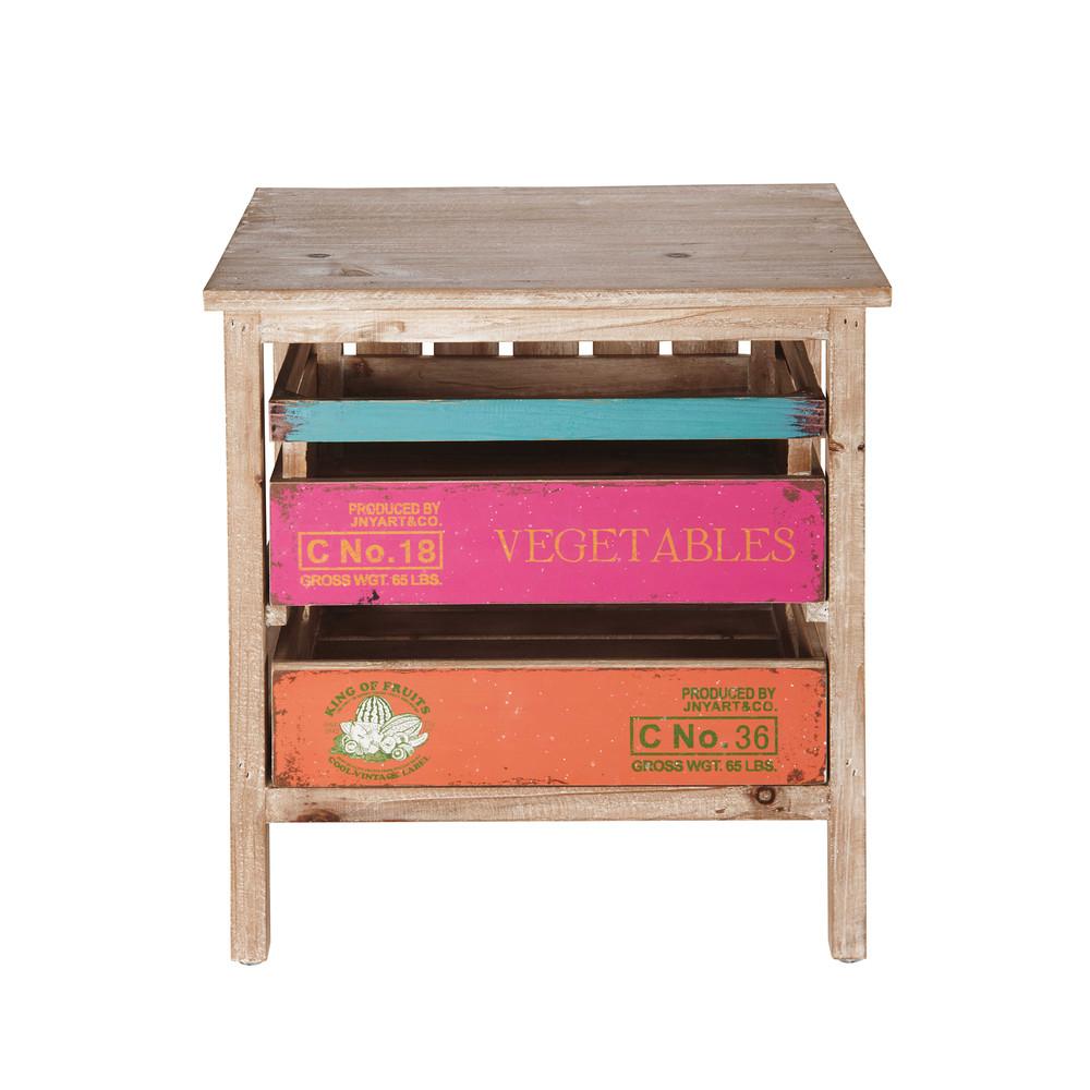 Meuble 2 tiroirs en sapin multicolore sergio maisons du for Petit meuble maison du monde