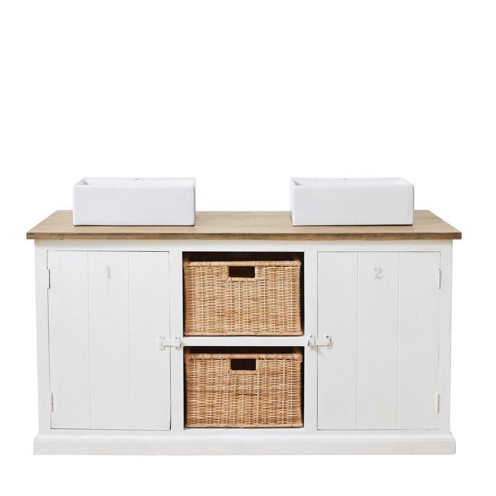 meuble 2 vasques en manguier massif blanc figuerolles maisons du monde. Black Bedroom Furniture Sets. Home Design Ideas