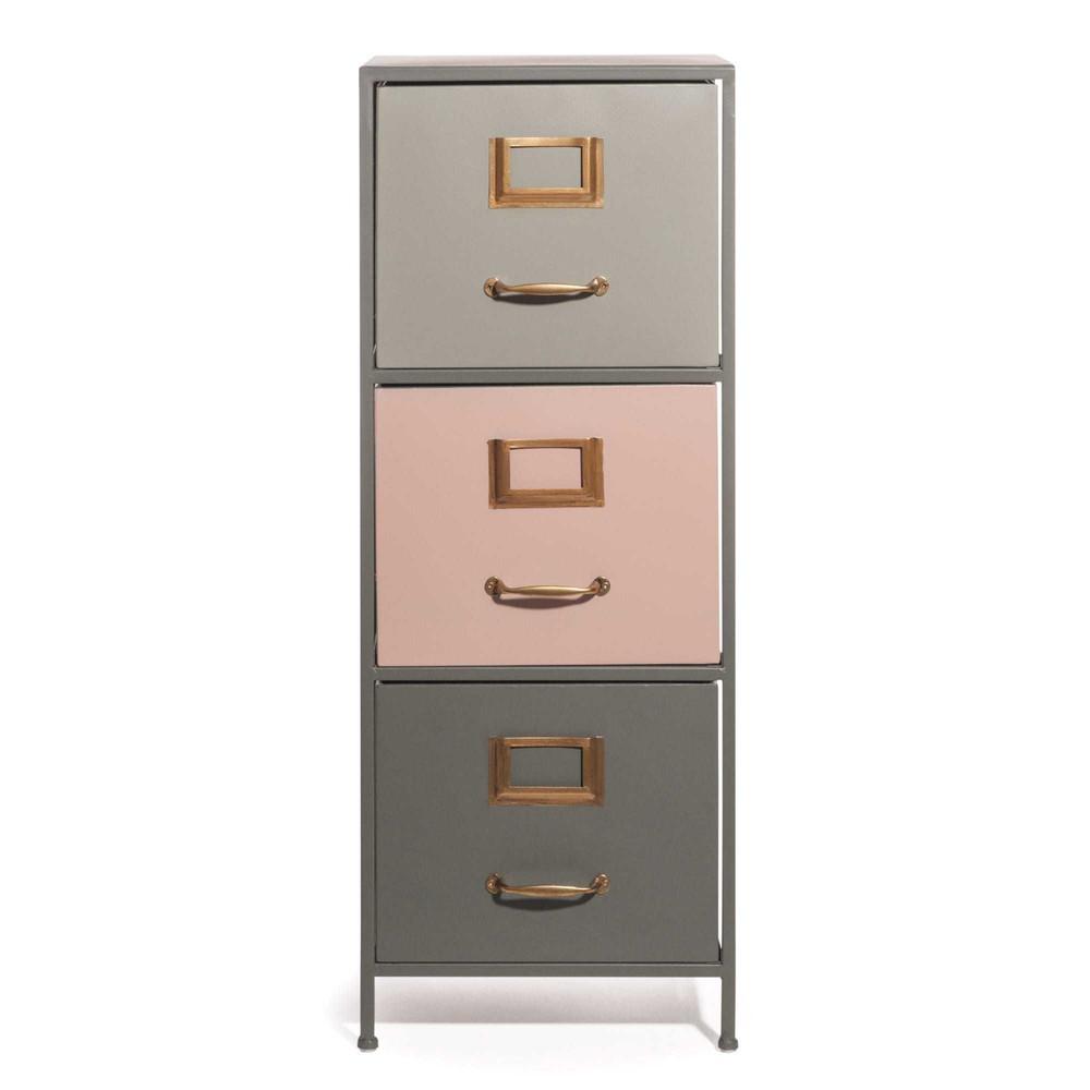 meuble 3 tiroirs en m tal tricolore doral maisons du monde. Black Bedroom Furniture Sets. Home Design Ideas
