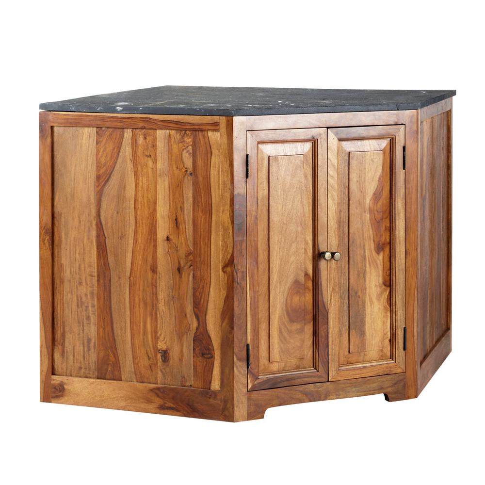 Meuble bas d 39 angle de cuisine en bois de sheesham massif l for Meubles bas cuisine